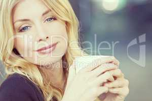 Instagram Style Photo of Blond Woman Drinking Coffee