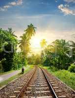 Sundown over railroad