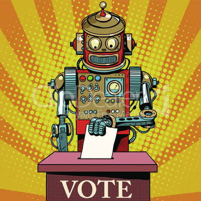 Robot the voter vote on election day