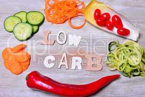 Low Carb Gemüse Buchstaben Text