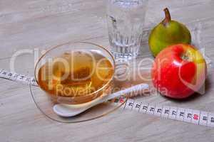 Abnehmen Apfel Birne Tee Maßband