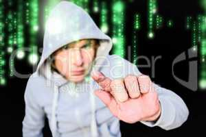 Composite image of man in hood jacket