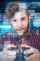 Composite image of portrait of hipster playing video game
