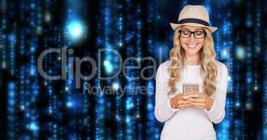 Composite image of gorgeous smiling blonde hipster using smartph