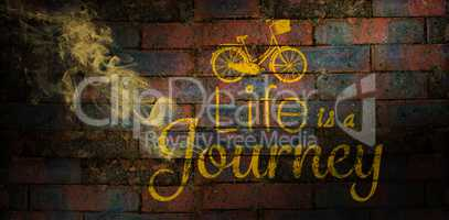 Composite image of life is a journey words