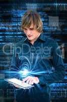 Composite image of hipster businessman using tablet