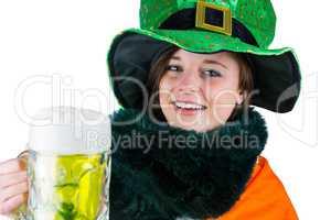 Pretty brunette celebrating Saint Patricks day