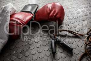 Boxing gloves and rope