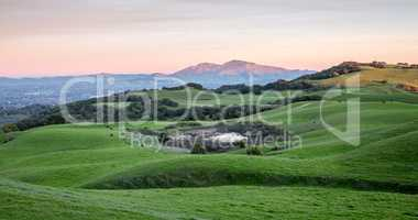 Sunset over Rolling Grassy Hills and Diablo Range of Northern California