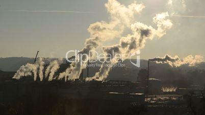 Heavy industry smog in Linz Upper Austria Europe
