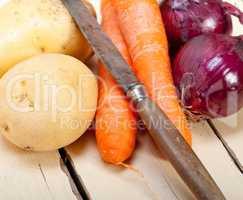 basic vegetable ingredients carrot potato onion