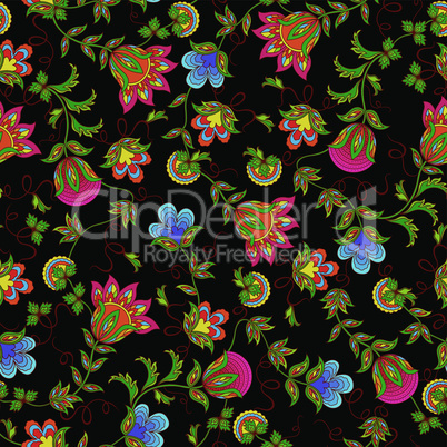 Seamless pattern with beautiful color flowers
