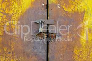 Background of door with lock in metal material