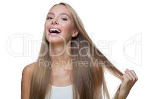 Portrait of beautiful woman flowing hair