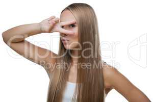 Beautiful woman shows gesture v