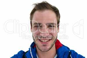 Close up view of a backpacker smiling