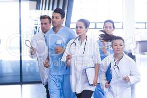 Doctors and nurses rushing for emergency