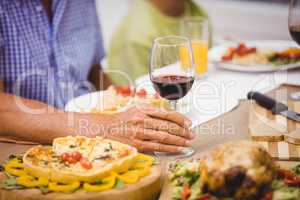Glass of wine on dining table