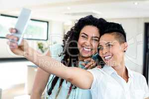 Lesbian couple taking a selfie on phone