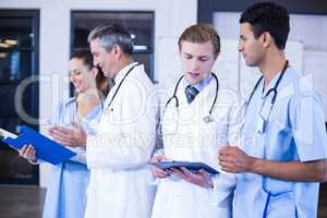 Medical team discussing the medical report together