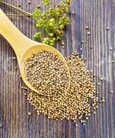 Coriander seeds in spoon on board top