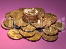 A lot of money, a pile of small coins