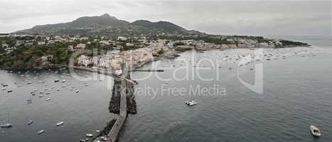 Bird's eye view of Ischia Ponte, island. Italy.