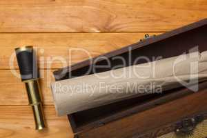 Scroll and telescope in the old box