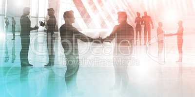 Silhouettes of Two Businessman Shaking Hands