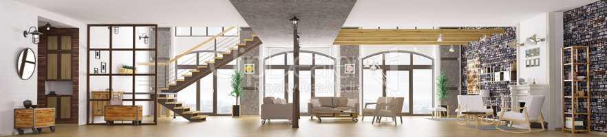 Panorama of loft apartment interior, living room 3d rendering