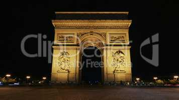 Famous Champs-Elysees arch at night