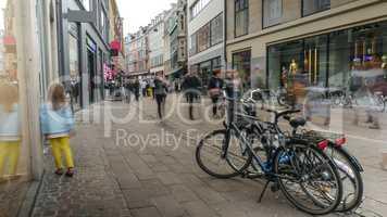 Child walks along street in Copenhagen