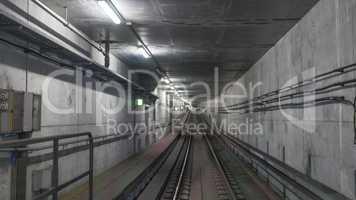 Subway rails in tunnel