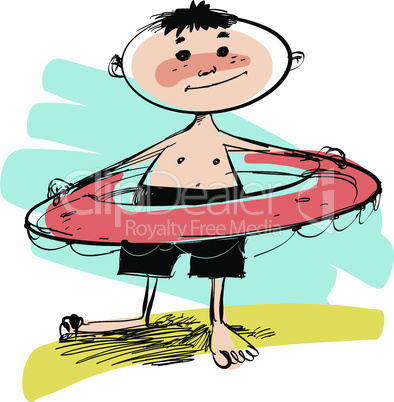 Boy with swimming circle