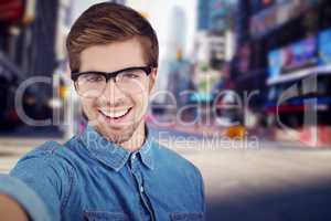 Composite image of portrait of happy man wearing eye glasses