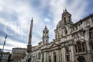 Saint Agnes church facade in piazza Navona, Rome