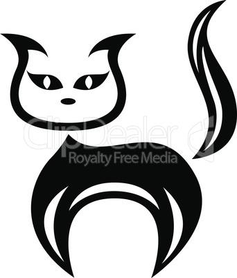 Stylized amusing black cat