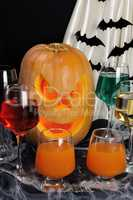 Drinks on the table in honor of Halloween