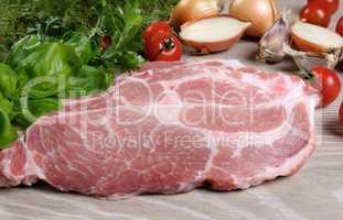 Slices of raw pork steak