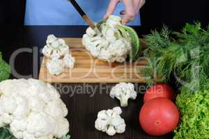 cauliflower on a cutting board