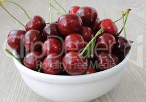 plate of ripe cherries on the table