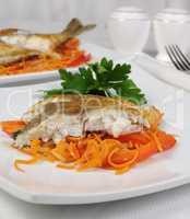 Slices of grilled fish (Dorado)