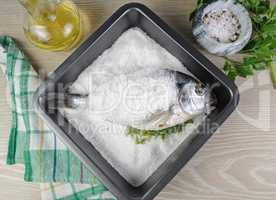 Sea bream (Dorado) baked with salt