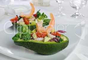 Appetizer of avocado with prawns