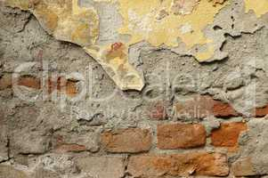 Close up of crumbling  wall with layers of peeled paint 5