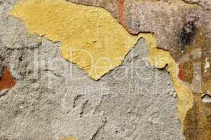 Close up of crumbling  wall with layers of peeled paint 4