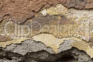 ..Close up of crumbling  wall with layers of peeled paint 3