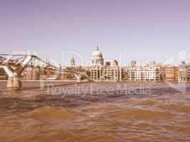 Millennium Bridge in London vintage