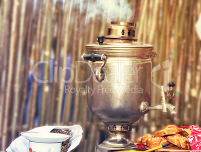 Boiling tea from the old samovar.