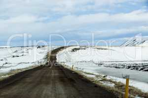 Lonely road in Iceland, wintertime